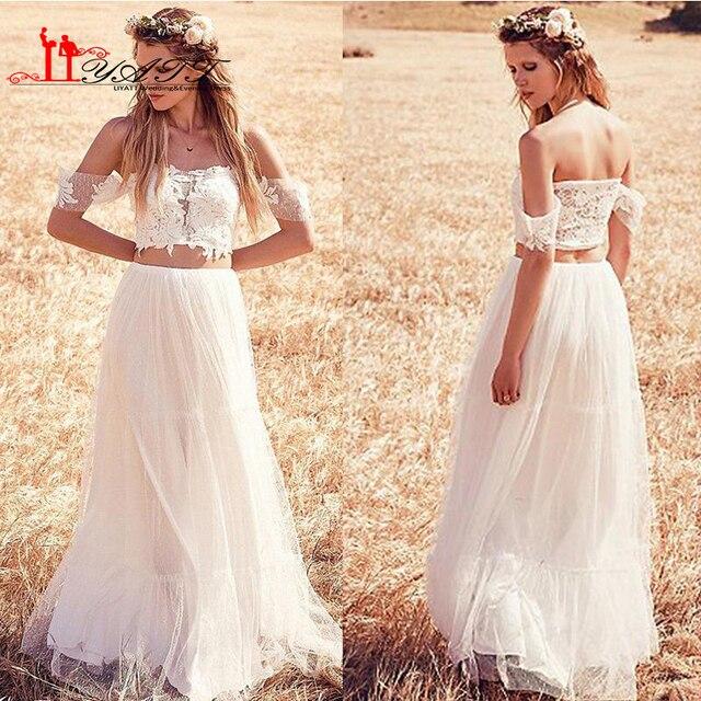 Crop Top Zwei Stück Hochzeitskleid 2016 Neue Ankunft Off schulter ...