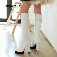Side Zip Thick High Heel Knee High Boots Winter Platform Women Fashion Boots Apricot White Black