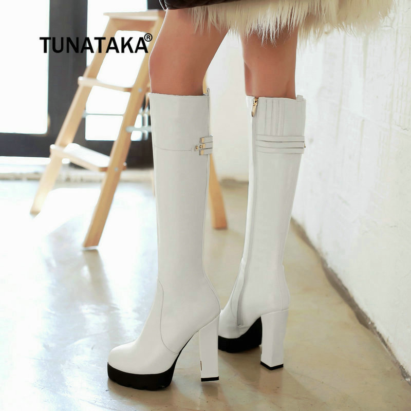 Side Zip Thick High Heel Knee High Boots Winter Platform Women Fashion Boots Apricot White Black women s zip platform square high heel knee high boots fashion winter round toe shoes woman white black apricot