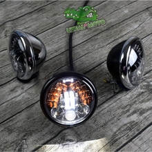 Harley Retro Motorcycle Modified LED Highlights 5.75 inch Headlights with Turnlight