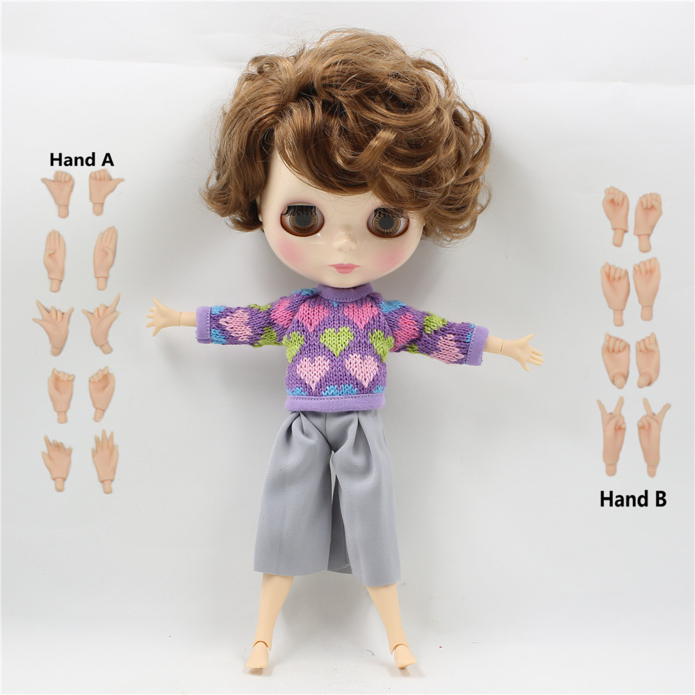Free shipping factory Blyth doll doll 1/6 boy doll BL9158 Brown curly hair Male Joint body Toy Gift about 30cm цена и фото