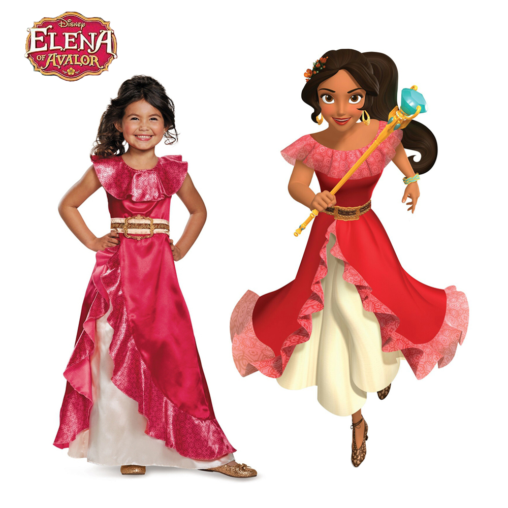 Girls Latina Princess Elena Cosplay Costume From TV Elena Of Avalor Adventure Next Party Dress Halloween Costumes