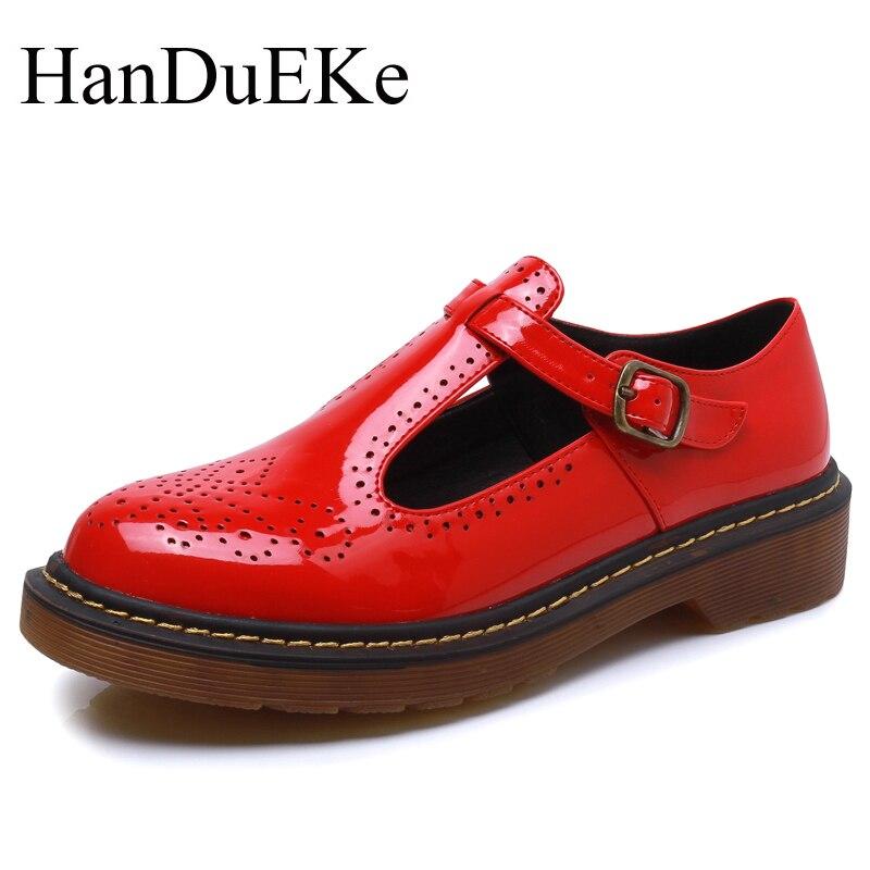 HanDuEKe New 2017 Patent Leather Women Shoes British Style Women Casual Shoes Ladies Fashion Women Pumps Brogue Shoes Woman