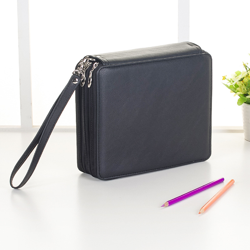 Image 5 - 120 Holes 3 Layers School Pencil Case PU Leather Large Sketch Pencilcase Art Pen Bag Multifunction Penalty Pouch Box Supplies-in Pencil Cases from Office & School Supplies