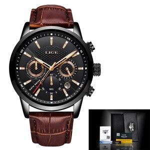Image 5 - LIGE 2019 新しい腕時計メンズファッションスポーツクォーツ時計メンズブランド高級レザービジネス防水時計レロジオ Masculino