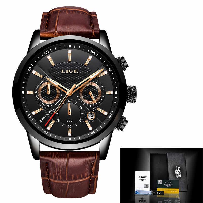 Relogio Masculino hommes montres LIGE mode étanche chronographe haut marque de luxe montre à Quartz hommes décontracté en cuir Sport montre