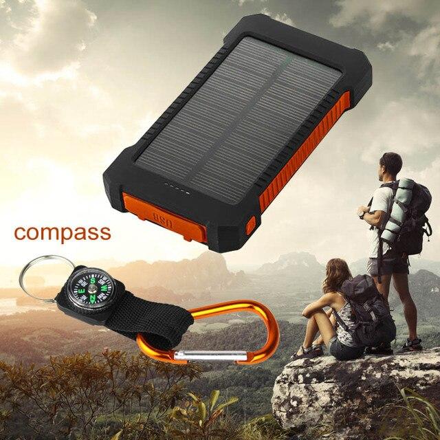 Портативный Солнечное Зарядное Устройство Power Bank 10000 мАч Внешняя Батарея Cargador movil Powerbank Dual USB LED Для телефона Tablet Камеры