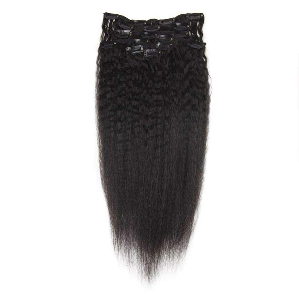 Moresoo Clip in Human Hair Extensions Real Remy Hair Extensions Human Hair Clips Natural Black 7Pieces 100Gram
