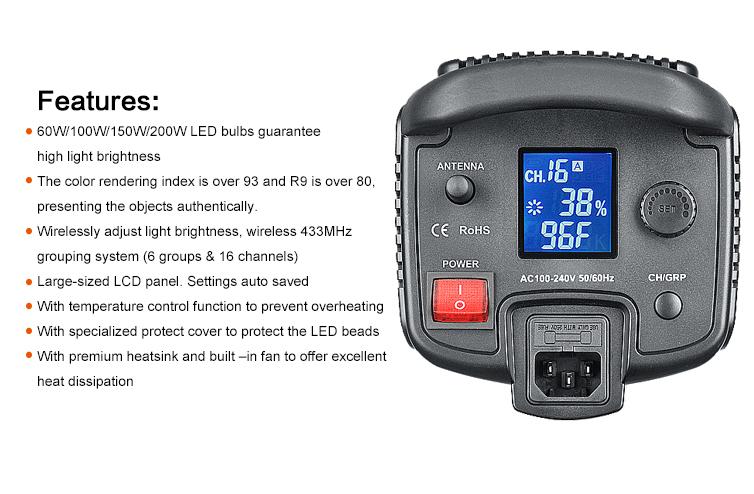 Godox SL-100 2400LUX Studio LED Continuous Video Light Bowens Mount (15)