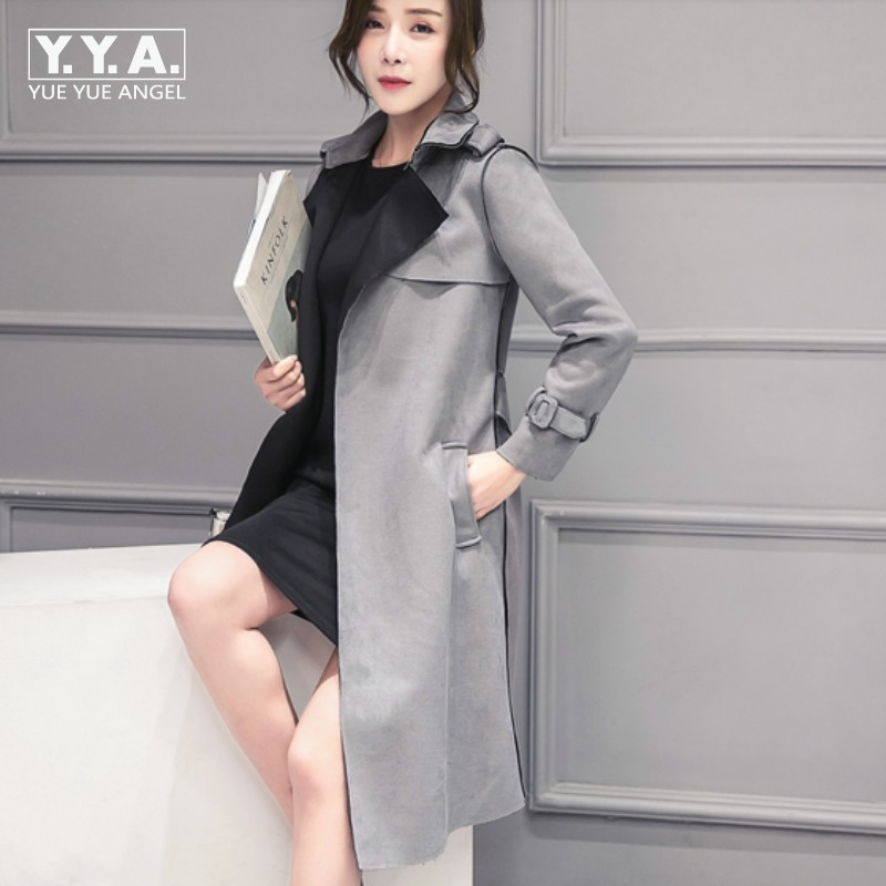 European New Fashion Long Faux   Leather   womens Jacket   Suede   Vogue Belted Chaquetas Mujer Gray Chic Casual Party Costume For Woman