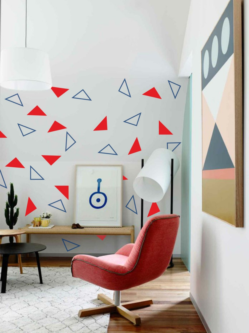 fashion 96pcs(48solid and 48hollow) Triangles vinyl, Abstract geometric wall  art - removable wall decal,home decor sticker(