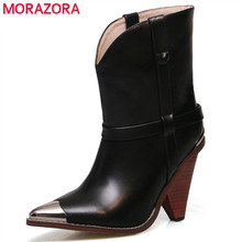 2019 Real Genuine leather boots women shoes black pointed toe ankle boots for women 10 cm high heel boots ladies bota feminina