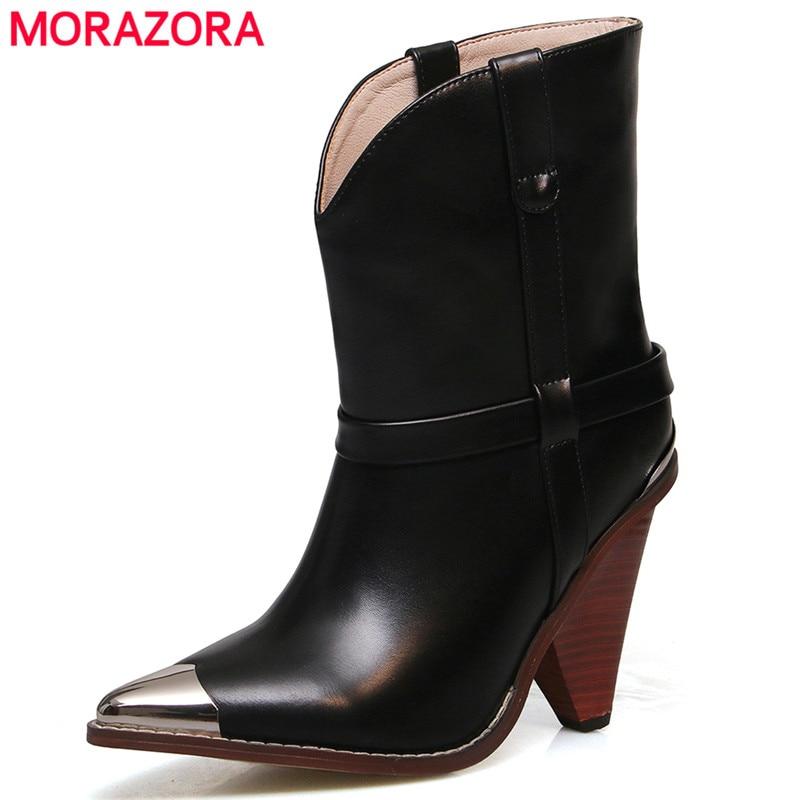 2019 botas de cuero genuino auténtico zapatos de mujer botas de tobillo de Punta Negra para mujer 10 cm botas de tacón alto señoras bota femenina-in Botas hasta el tobillo from zapatos    1