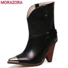 2019 ريال بوط من الجلد الطبيعي النساء أحذية سوداء أشار تو حذاء من الجلد للنساء 10 سنتيمتر أحذية عالية الكعب السيدات بوتا الأنثوية
