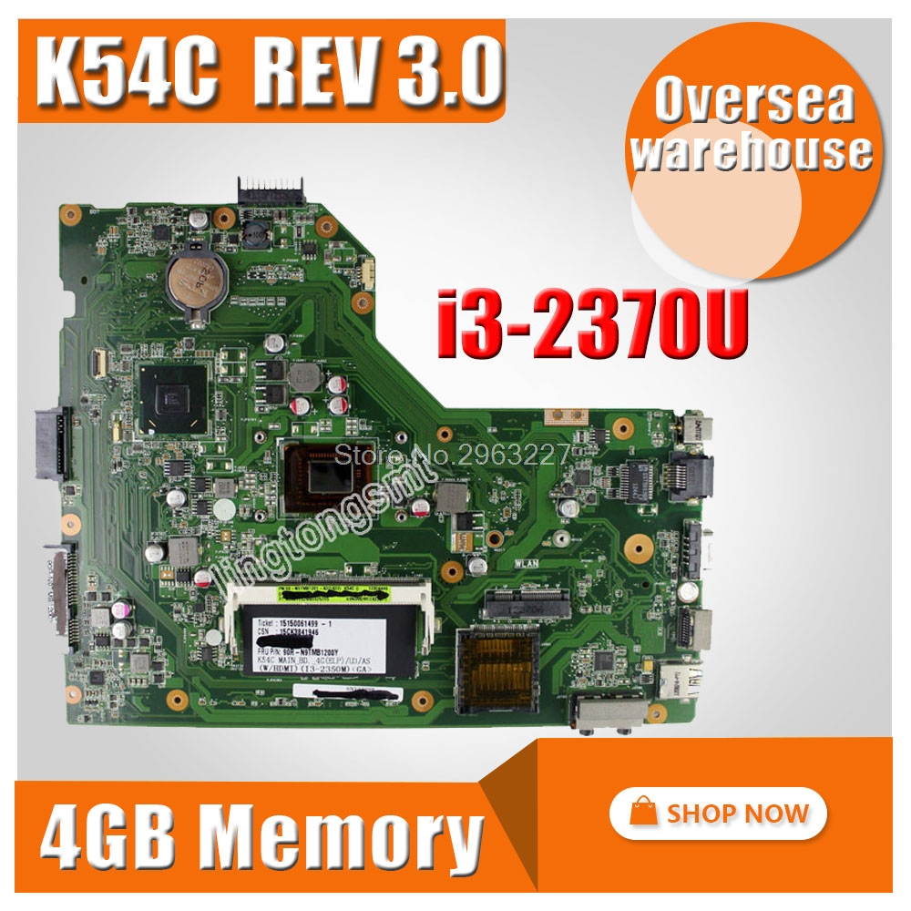 For ASUS X54C motherboard Hm65 with i3-2370U motherboard K54C REV 3.0 MAINBOARD 100% tested motherboard pca 6276v rev b1 100