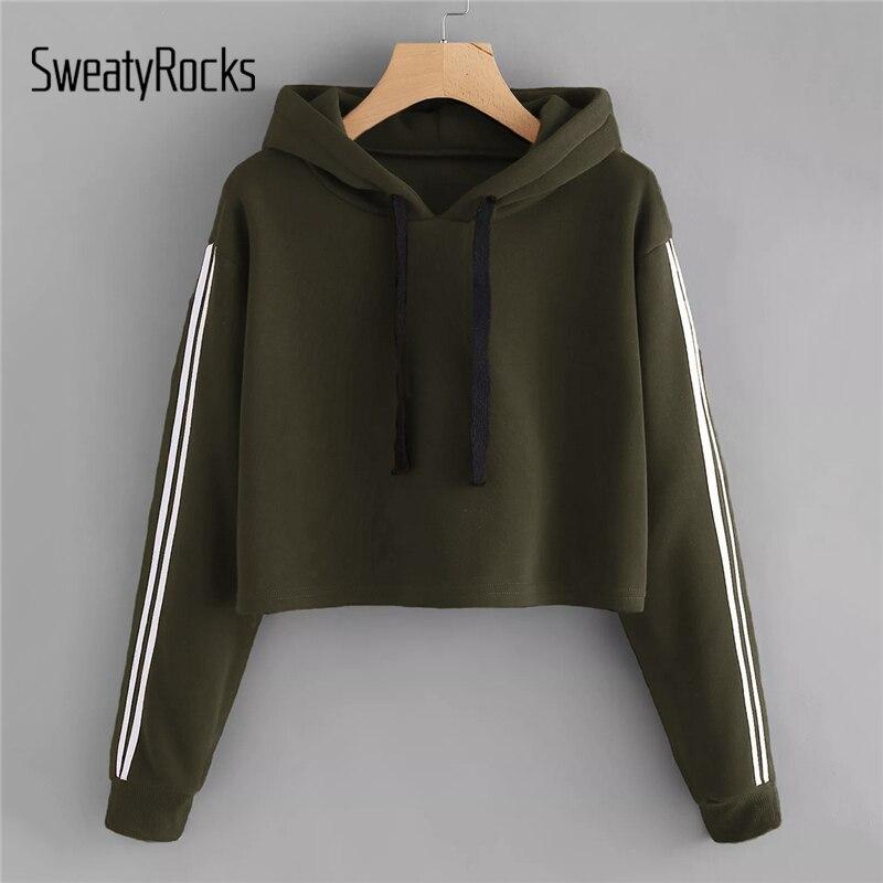 SweatyRocks Army Green Drawstring Hoodie Striped Tape Sleeve Sweatshirt Long Sleeve Crop Tops 2018 Autumn Women Casual Hoodies