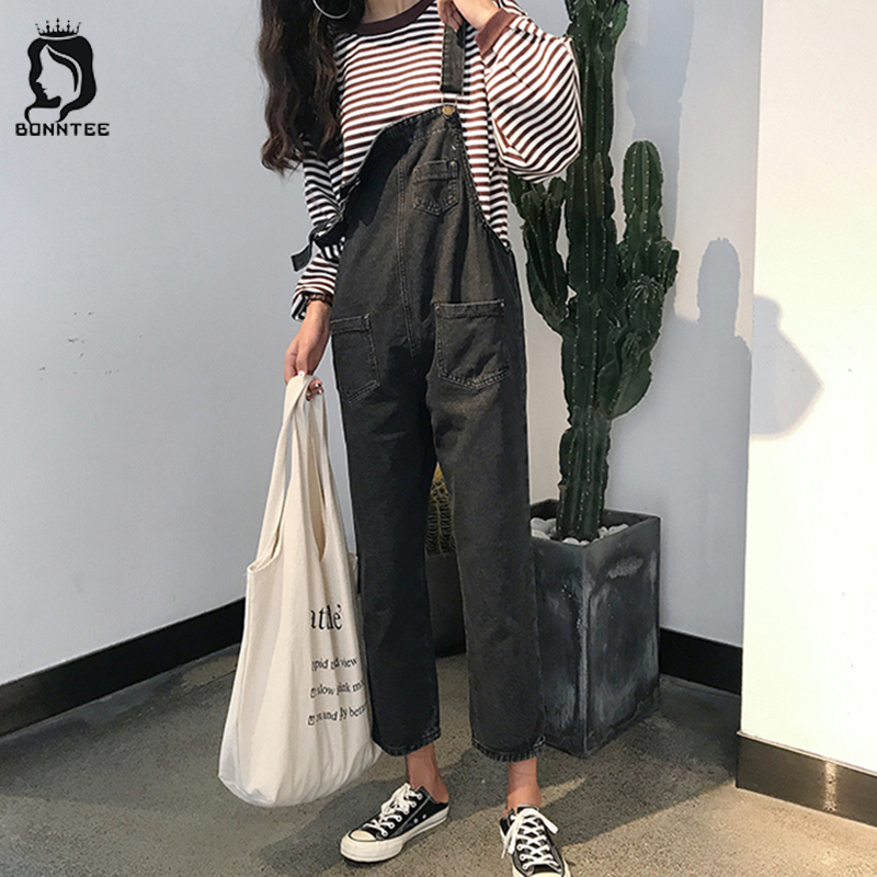 Women Black Jumpsuits Denim Womens Loose Overalls Pockets Rompers Casual Female Korean Style Students Fashion Females Jumpsuit