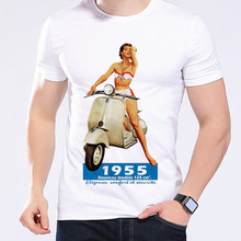 Retro Cartoon Vespa Girl Riders Men T Shirts Cool Shirts Small Motorcycles Scooters High Quality Short Sleeve Funny T-Shirt L247(China)