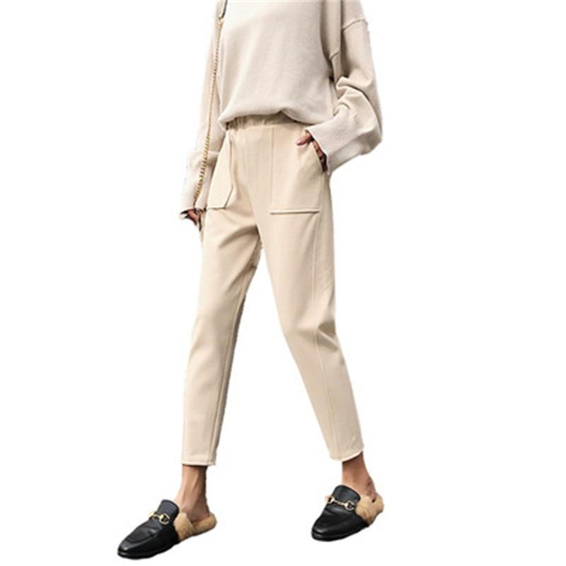 f780fd7b3bce510 Женские брюки корейские повседневные узкие брюки 2019 новые весенне-осенние  тонкие черные бежевые брюки с