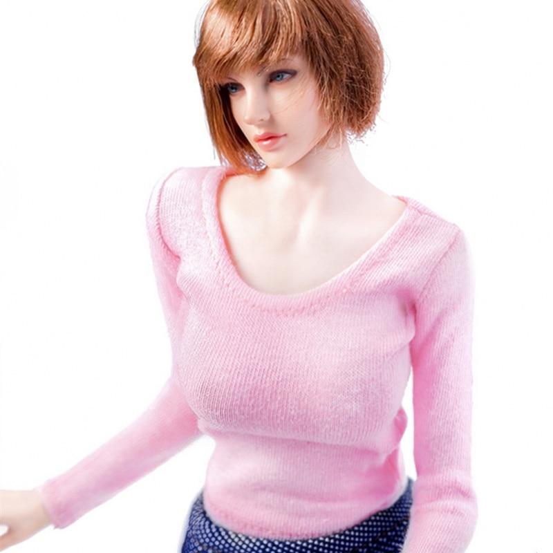 1:6 Female White Underwears Long Sleeve T-Shirt Model For 12inch Action Figure