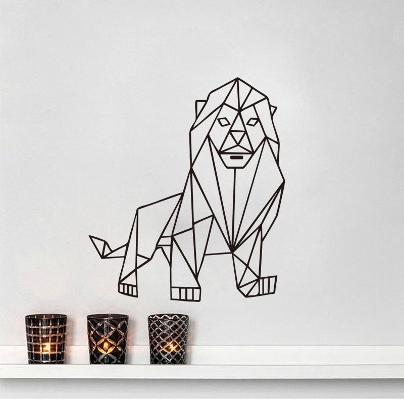 Lion Outline Geometric Wall Sticker Home Decor Animals Living Room Vinyl Decals Wall Sticker For Baby Room Boy Mural ZH01 line art