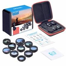 Apexel kit de lentes 10 em 1, lentes para câmera de celular, lentes com ângulo aberto, macro 2x, para iphone, xiaomi, galaxy e android