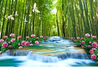 Custom Ang Size 3D Wallpaper Chinese Style Water Bamboo Forest Waterfall Peony TV Background Wall Painting Wallpaper