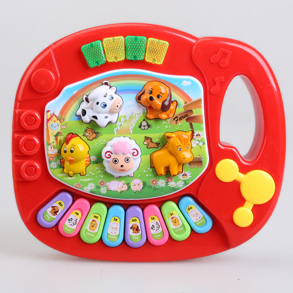 Baby Kids Animal Farm Piano Music Toy Educational Toy Cute Cartoon Developmental Toys Animal Voice Toy Gift For Children