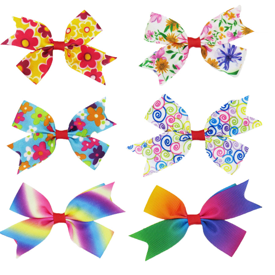 1PCS Beautiful Rainbow Colors Elastic Hair Bands Toys For Girls Handmade Ribbon Bow Scrunchy Kids Hair Accessories For Womens