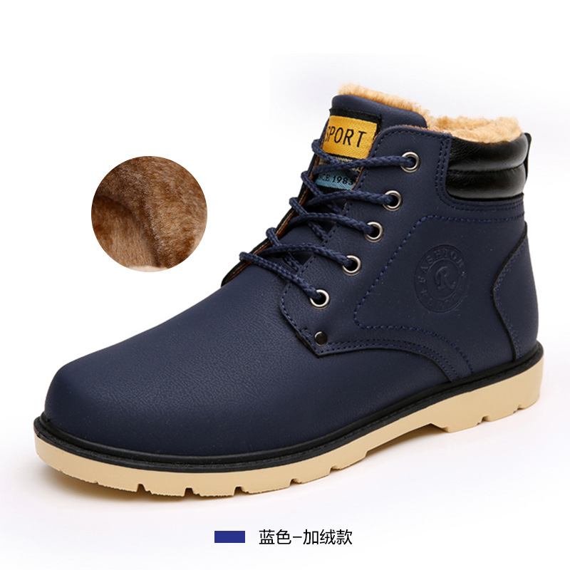 2016 hot fashion PU men warm winter Boots shoes Men ankle boots