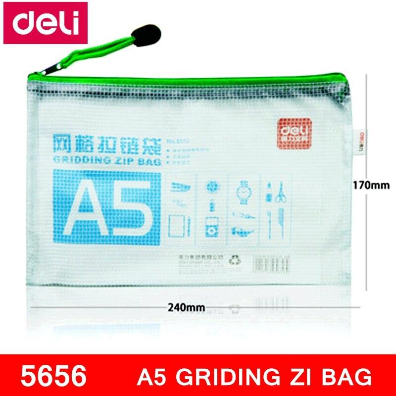 1PCS Deli 5656 A5 Gridding Zip Bag 170x240mm File Bag File Pocket Zip Folder Documents Pocket Mixed Color Wholesale
