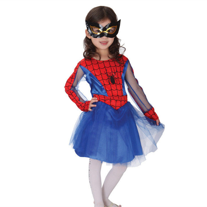 Fancy Masquerade Party Spider Girl Costume Children Cosplay Dance Dress Hero Costumes for Kids Halloween Clothing Lovely Dresses costume