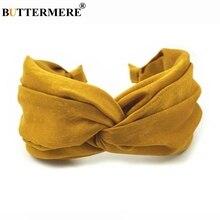 BUTTERMERE Yellow Hair Band For Women Solid Headbands Wide Hairbands Vintage Headwear Velvet Scrunchies Korean Accessories