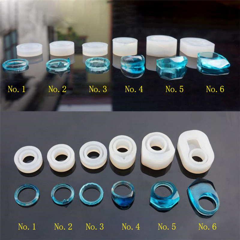 Silicone Mold finger ring mold 6styles Resin Silicone Mould handmade DIY Craft Jewelry Making epoxy resin molds 56 60 62mm diamond surface silicone mold for jewelry bracelet resin silicone mould handmade tool diy craft epoxy resin molds