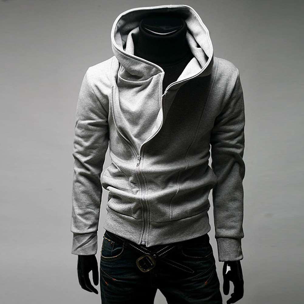 Inclined Zipper Hooded Hoodie Fleece Jacket Coat Sports Suit Casual Fashion Men's Clothing GDD99