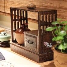 Burn Paulownia Japanese Chapeng / Tea zero with wood storage box flower pot rack shelving small desktop