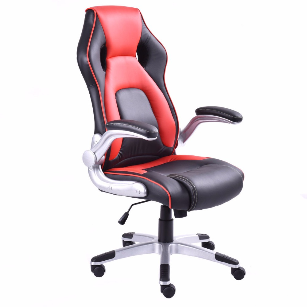 Goplus PU Leather Executive Racing Style Bucket Seat Office Desk Chair Task Modern Swivel Computer Gaming Chairs HW52436 giantex pu leather high back racing style bucket seat gaming chair with head pillow modern office desk computer chairs hw52433