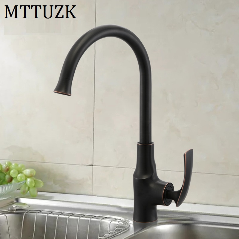 MTTUZK oil bubed Bronze Kitchen faucet hot and cold water tap Sink faucet Vegetable washing basin 360 degree rotating faucetMTTUZK oil bubed Bronze Kitchen faucet hot and cold water tap Sink faucet Vegetable washing basin 360 degree rotating faucet