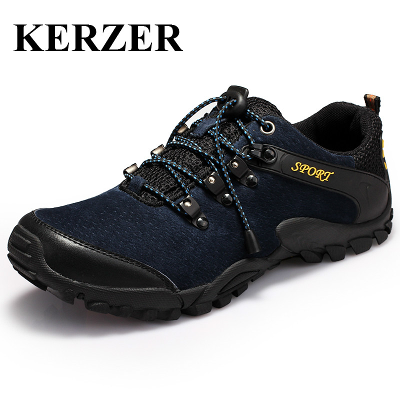 ФОТО KERZER Mens Outdoor Climbing Shoes Breathable Hiking Shoes Spring/Summer Mountain Trekking Sneakers Black/Blue Hunting Shoes