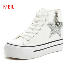 5CM High Heels Shoes Casual Canvas Platform Top Wedge Sneakers Sequins Ladies Hidden Elevator 2019