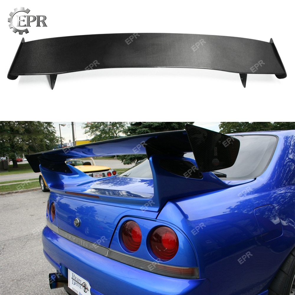 For Nissan GTR R33 Skyline Carbon Fiber Bee R GT Spoiler (only fit to GTR Rear Spoiler Base) Skyline R33 GTR Carbon Wing Lip