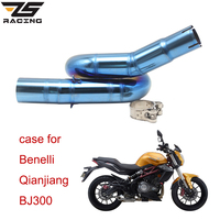 ZS Racing Motorcycle For Benelli BJ300GS Exhaust Muffler Middle Pipe Motorbike 50.8mm Muffler Exhaust Mid Link Pipe Escape