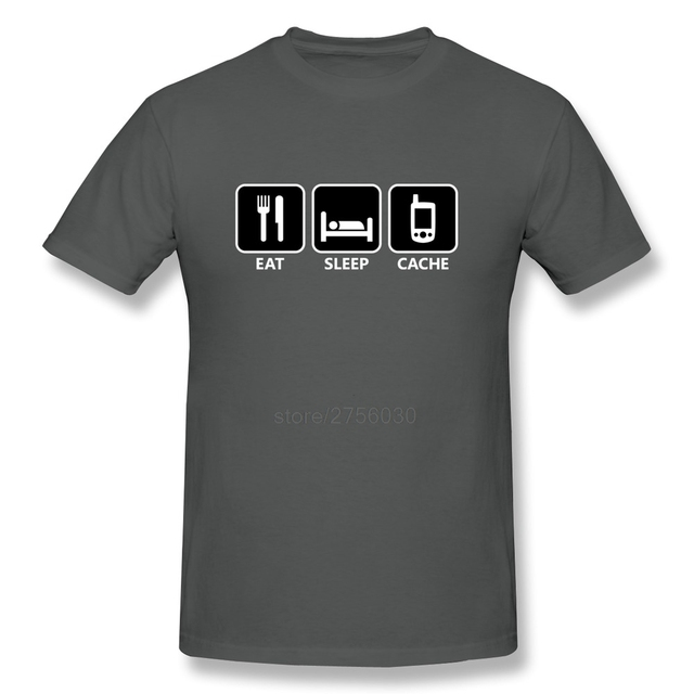 Geek Geocaching Short Sleeve Round Neck men's t shirt Promotion 100 % Cotton t shirts for Men's