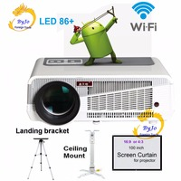 LED86 Wifi Led Projector Android 4 4 2 HD LED 3D Smart Projector 5500 Lumens Proyector