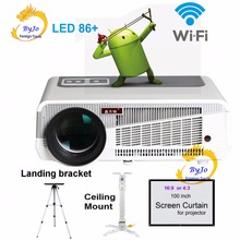 LED86 + wifi führte projektor Android 4.4.2 HD LED 3D Smart Projektor 5500 lumen proyector Beamer 1080 p HDMI Video Multi bildschirm