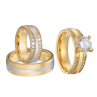 Luxury Gold Color 3 Pieces Wedding Rings Set For Men And Women Bridal Band Jewelry Cz