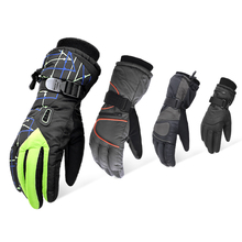 Free shipping cold endurance waterproof fabric ski gloves flleece lining warm keeping protecting safety gloves цена