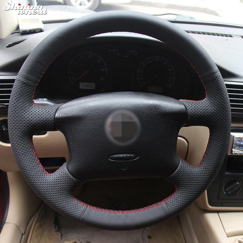 Sjajna pšenica Ručno šivana Crna Umjetna koža Poklopac volana za Volkswagen Passat B5 VW Passat B5 VW Golf 4