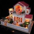 Luxo Montagem Doll house Com Móveis De Madeira Em Miniatura DIY Criativo luz presente de aniversário Dos Namorados