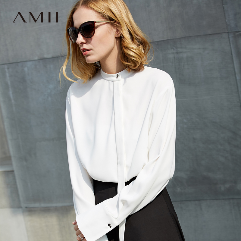 Amii Minimalist Women 2019 Spring Office Lady   Blouse   Solid Stand Collar Straps Female   Blouses     Shirts